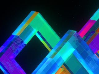 Abstract illustration of colorful 3D shapes